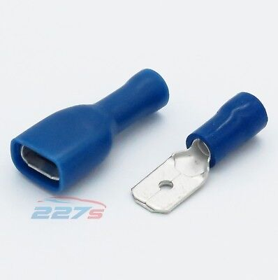 100x Blue Fully Insulated Spade Electrical Crimp Connectors- Mixed Male & Female
