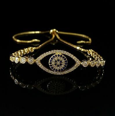 14K Yellow Gold Over 925 Sterling Silver Round Cz Evil Eye Tennis Bracelet