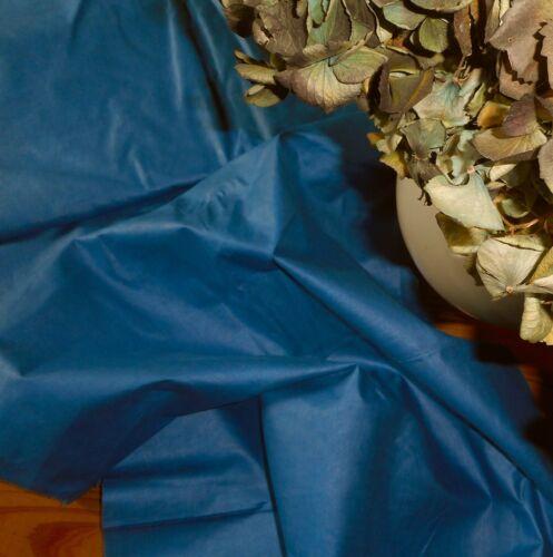 Antique 19thc English Scottish Blue Polished Cotton Chintz Fabric ~Prussian Teal