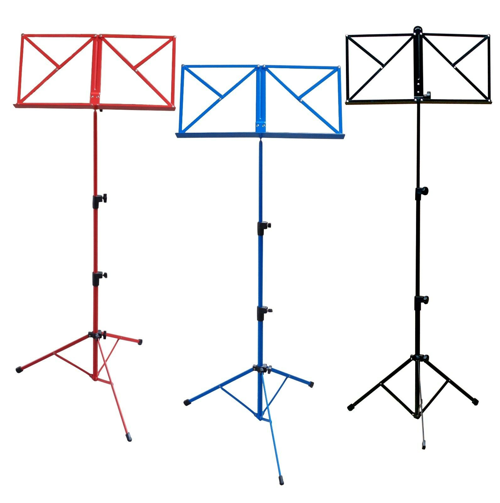 NOTENSTÄNDER - NOTENAUFLAGE + TASCHE  (blau, rot, schwarz) Höhe von 50-124cm