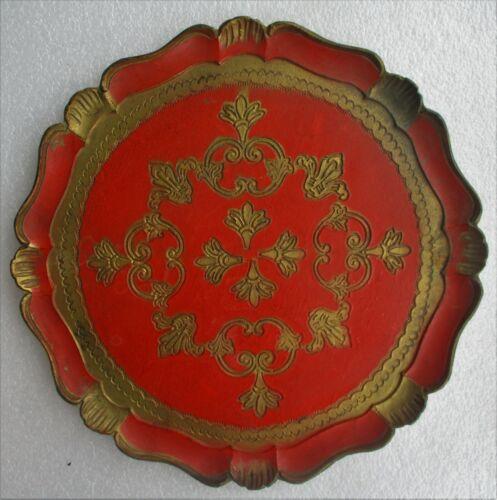 Vintage Italian Florentine Round Wooden Platter Red Orange Gold Tole Paint 13.5