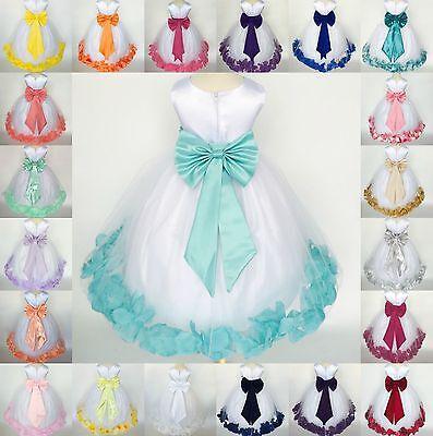(White Flower Girl Bridesmaid Bow Elegant Pageant Recital Petal Girl Dress #24)