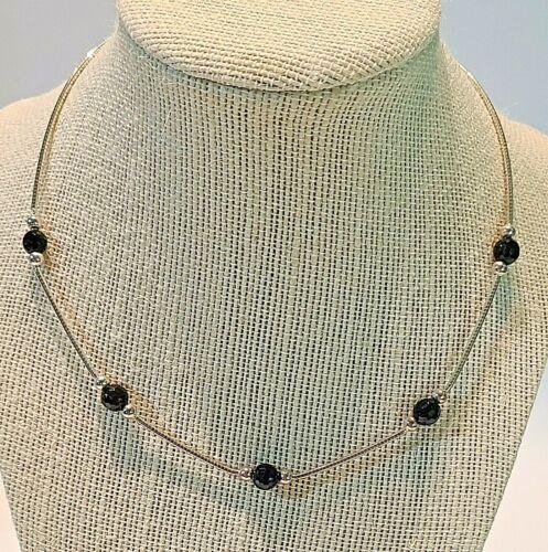 "Vintage 925 Sterling Silver Black Onyx  Beaded  Choker Necklace 16""-18"""