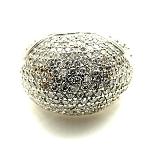 John Hardy Classic Chain Silver Gold Dome Pave Diamond Ring Size 9