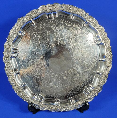 """Barker Ellis England Silver Plated Ornate Round Serving Footed Tray 16.25"""" D"""