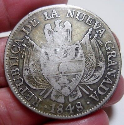 1848  Colombia  10 Reale  Silver  Republic Of Nueva Granada  Popayan    Rare