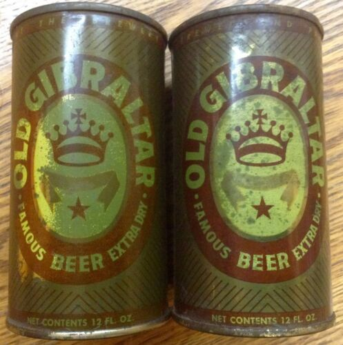 Old Gibraltar Beer Can (2)-Flat Top Beer Can-Steel Beer Can-No Pull Tab Beer Can