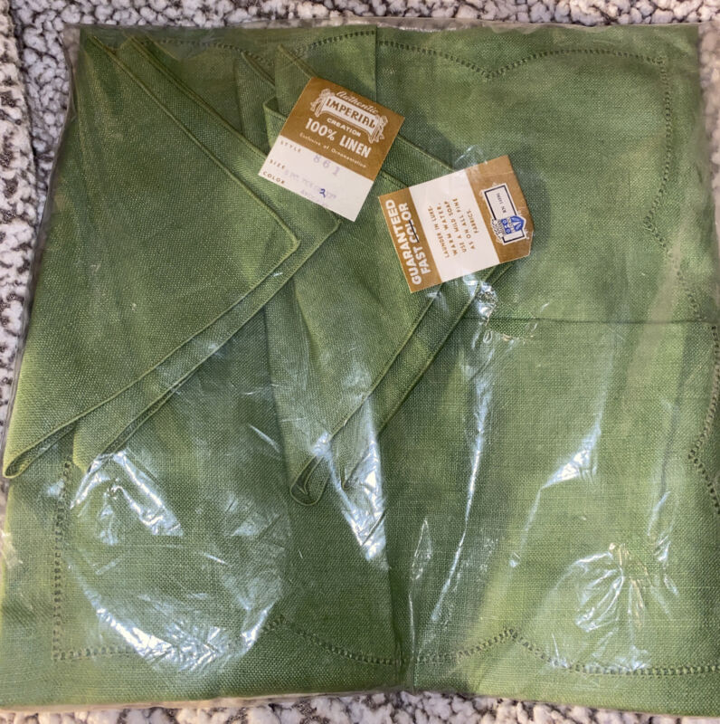 ❤️ Vintage Imperial Crown Linens: Linen Tablecloth +  Napkins Portugal Green