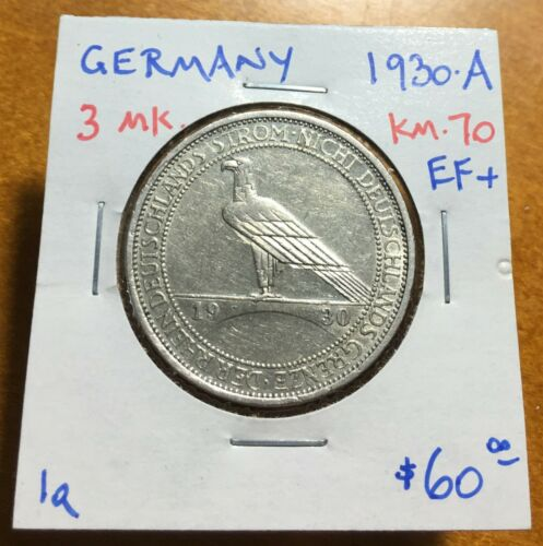 #3512 Germany 1930-A 3 Mark, Rhineland, KM-70, Extremely Fine +