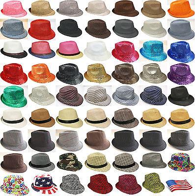 Unisex Men Women Fedora Hat Trilby Cuban Style Upturn 1-5/8