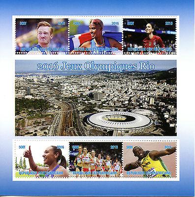 Central African Republic 2016 MNH Rio Olympics 6v M/S Usain Bolt Mo Farah Stamps