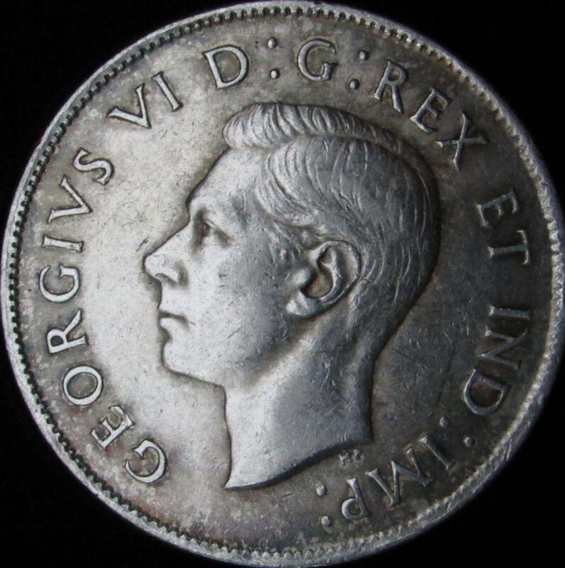 1944 Canada Silver 50 Cents (Fifty, Half) - KM# 36 - JG - XF+ (AU-)