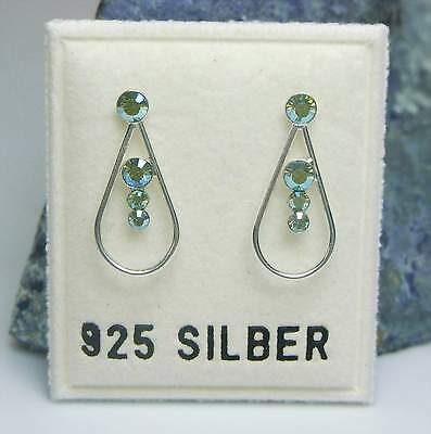 Neu 925 Silber OHRSTECKER 2mm/3mm SWAROVSKI STEINE peridot AB/grün OHRRINGE