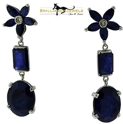 Magnificent Natural Blue Sapphire Flower Star Cluster Diamond Drop Earrings