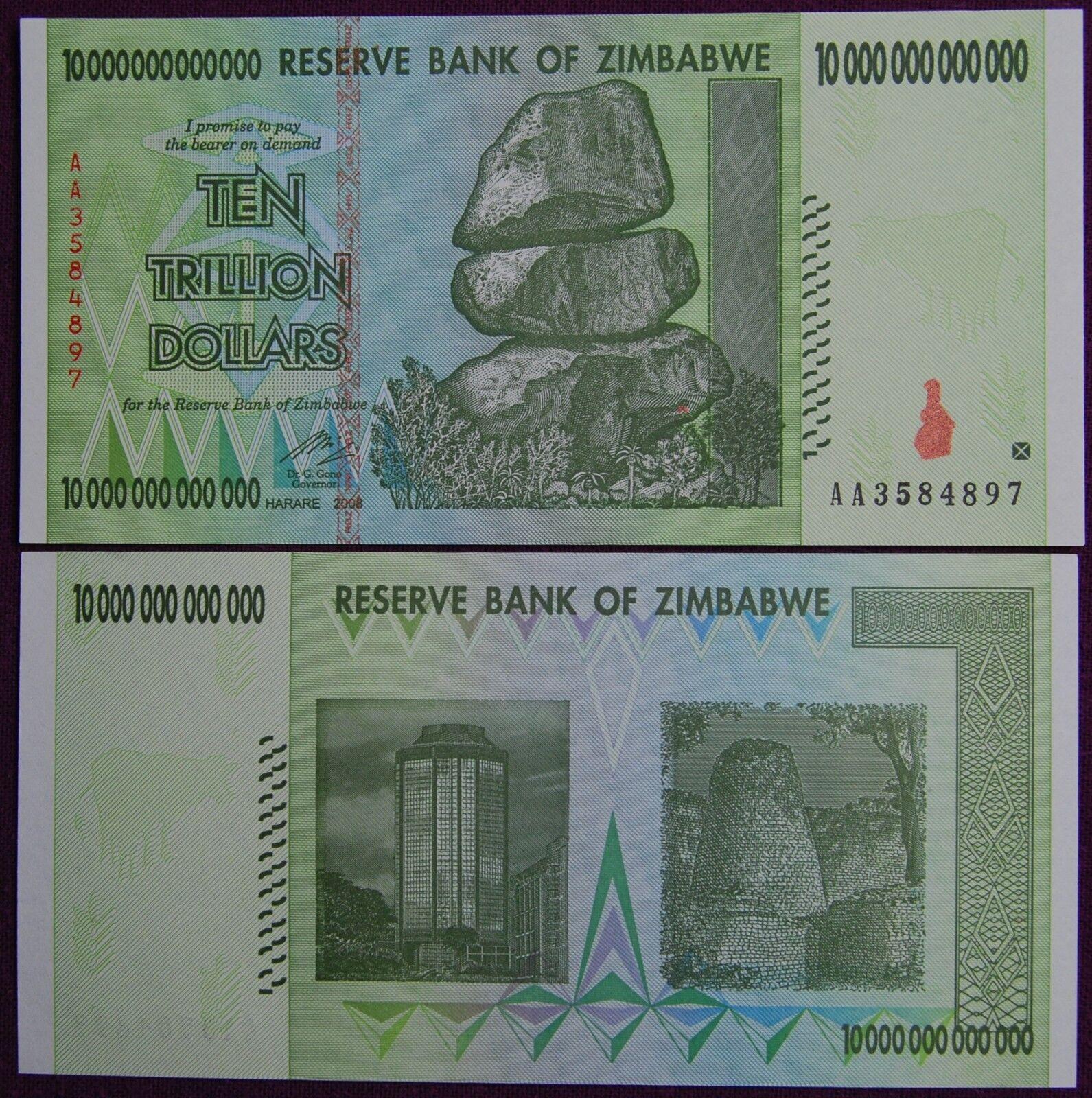 ZIMBABWE 100 TRILLION DOLLARS (10 X 10 TRILLION) 2008 AA   OVER 50 IN STOCK!