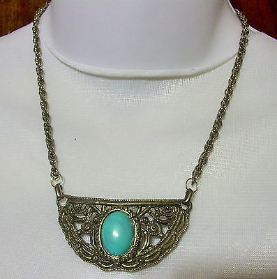Vintage Western Silver Tone Curved Shield Faux Turquoise Cabochon Necklace