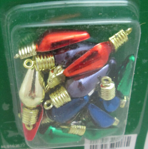 Christmas 18 Miniature Plastic Miniature Flatback Metallic Light Bulb Ornaments