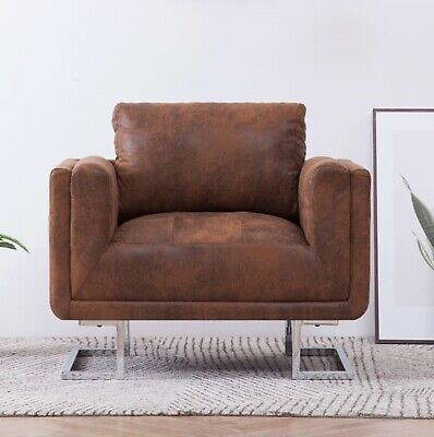 Vintage Tub Armchair Industrial Style Cube Sofa Chair Luxury Faux Leather Seat