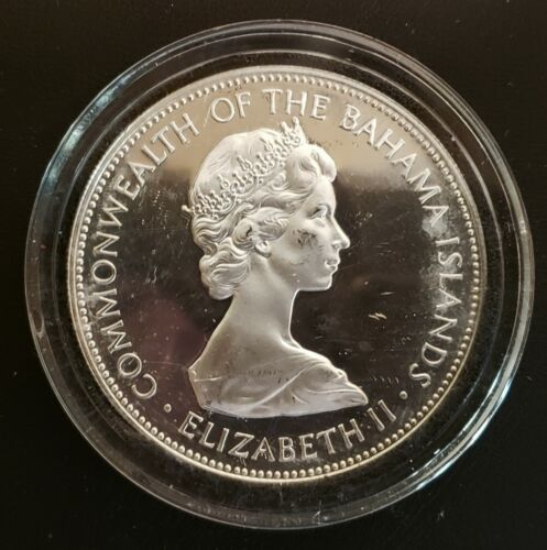 1973 Bahamas Silver Proof 5 Dollar Coin!  UNC!  KM-33!