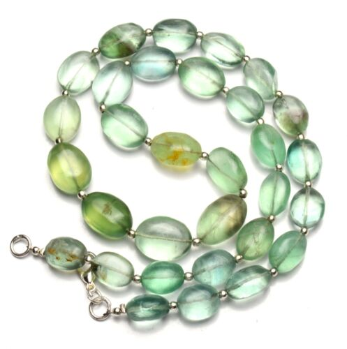 """Natural Gem Green Fluorite Necklace Rough Unpolished Nugget Beads 18"""" 250Cts."""