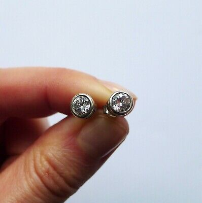 Vintage STERLING SILVER 925 Large Cubic Zirconia Earrings Stud Stone Metal for sale  Shipping to South Africa