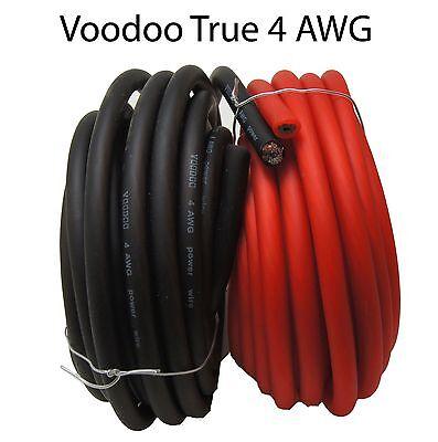 Voodoo 25 ft 4 Gauge True Spec AWG 12.5' RED / 12.5' BLACK Power & Ground Wire