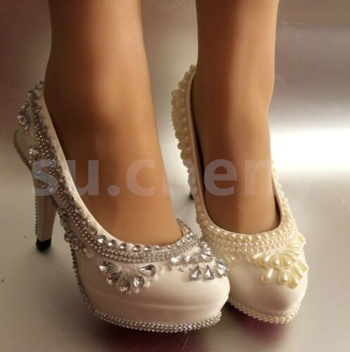 "su.cheny 3"" / 4"" white ivory lace crystal pearl Wedding Bridal pumps heels shoes"