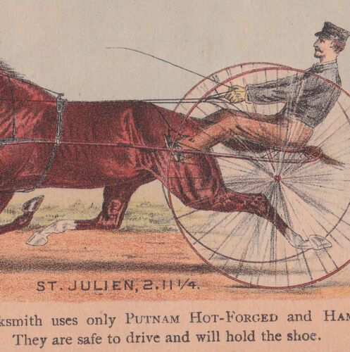 BOSTON TRADE CARD,TO HORSE OWNERS, THE PUTNAM NAIL IS EVEN FOR RACE HORSES  X709