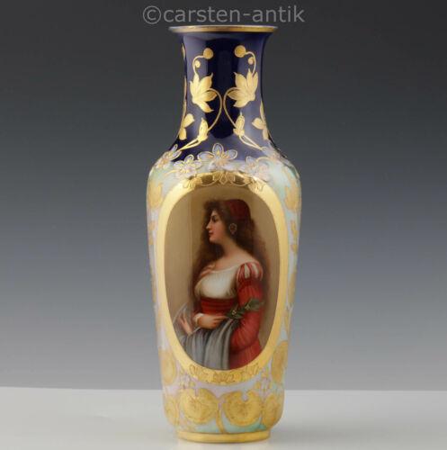 """Antique Royal Vienna Austria Art Nouveau Porcelaine vase Signed Wagner 1900 13"""""""