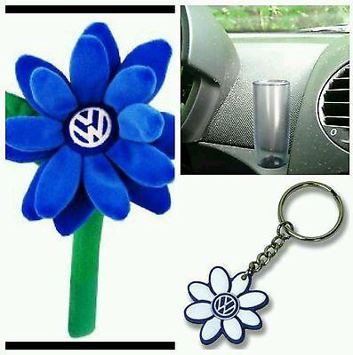 Volkswagen New Beetle BLUE VW Logo Daisy Flower 1- Key Chain &  Clear Vase OEM