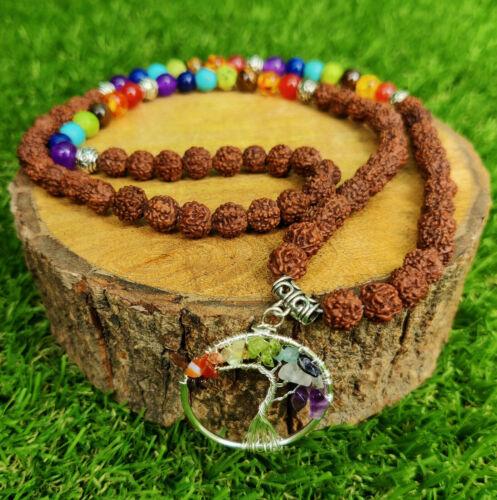 8mm Rudraksha 7 Chakra Gemstone 108 Beads Mala Necklace spirituality Wrist
