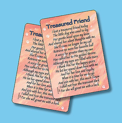 """Treasured Friend"" Poem - Female Dog - Memorial Pet Loss 2 Verse Cards-SKU# 660"