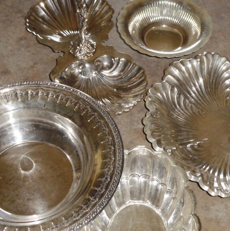 5 Silver Plate Serving pcs -Bowl, Dish, Tid Bit w Handle &More -Towle Sheffield+