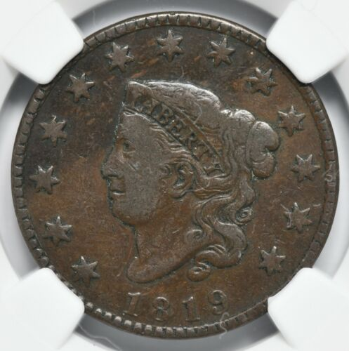 1819 Small Date Coronet Head Large Cent N-9 NGC F-15 BN