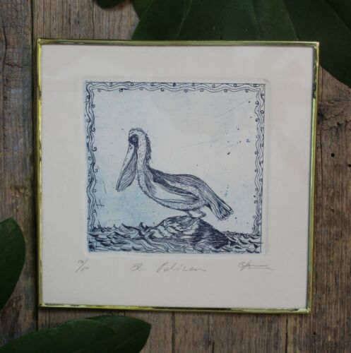 Blue Pelican Etching Framed Brass Handmade Mexican Folk Art by Genaro Abelar