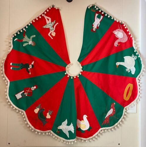 Vtg 12 Days of Christmas Tree Skirt Red Green Appliqued Pom-Poms ~ NICE!!