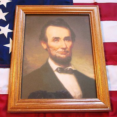 Framed Civil War Painting, Portrait of President Abraham Lincoln on Canvas. 1915