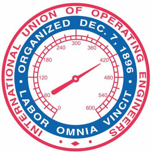 "International Union of Operating Engineers UNION Labor STICKER Decal 4"" HARD HAT"