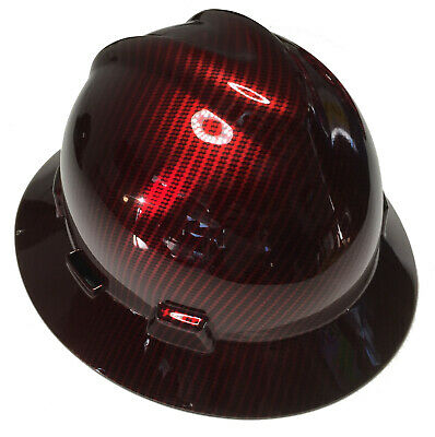 Msa Full Brim Vguard Hard Hat Red Kandy Carbon Fiber W Free Brb Tshirt
