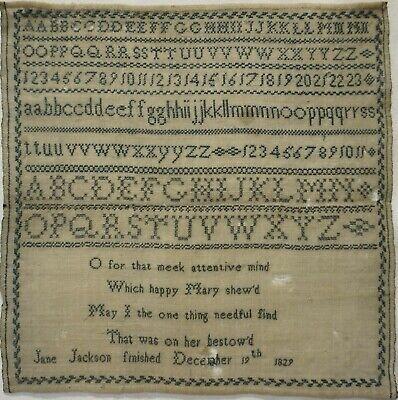 EARLY 19TH CENTURY BLUE STITCH WORK SAMPLER BY  JANE JACKSON - December 19 1829