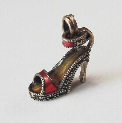 Vtg Sterling Silver JJ Enamel HIGH HEEL PUMP SHOE Stones Bracelet Charm Pendant High Heel Shoe Bracelet Charm