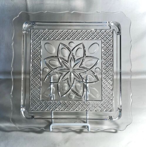 """Imperial Crystal Cape Cod 10"""" Square Cake Plate"""