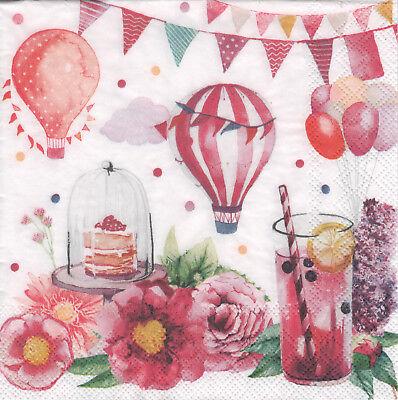 4 lose Servietten Napkins Blumen Kuchen Getränk Luftballons
