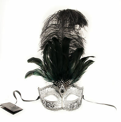 Mask from Venice Colombine in Feathers Ostrich Black Silver Mask Venetian- 494