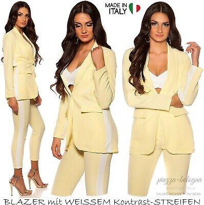 NEU 36 - 38 ♡ sommerleichter Blazer weißer Kontrast-Streifen Italy ♡ Gelb S-M