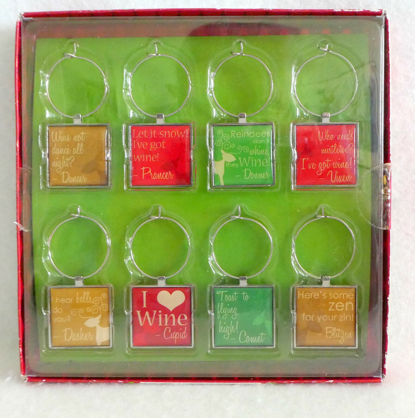 WINE GLASS Charm Markers SANTAS REINDEER Christmas NIB Pier 1