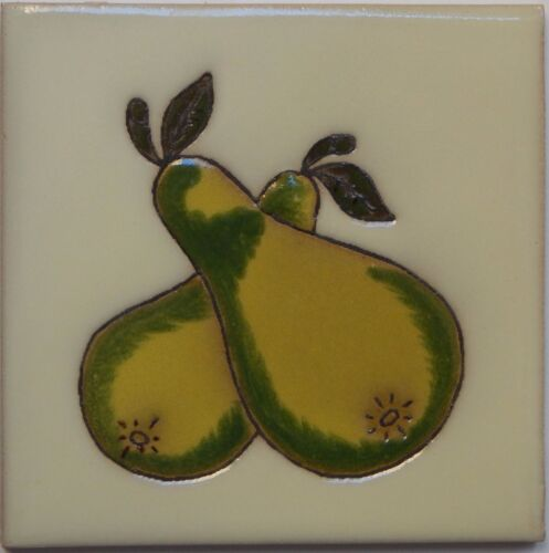 Mexican Tile Malibu Fruit Santa Barbara Tiles Cuerda Seca Pear F-05