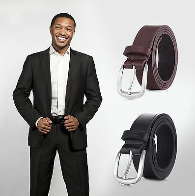 Marino's Men Genuine Leather Casual Fashion Dress Belt with Single Prong Buckle