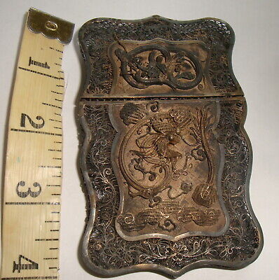 "3.5"" CHINESE ANTIQUE FILIGREE SILVER PLATED DRAGON SNAKE CARD CIGARETTE CASE ART"