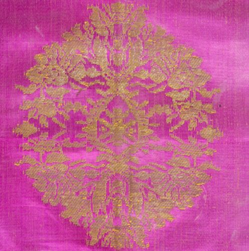 1800 ANTIQUE OTTOMAN MARASH SILK LAMPAS TAPESTRY COCHINEAL or TYRIAN DYE TEXTILE